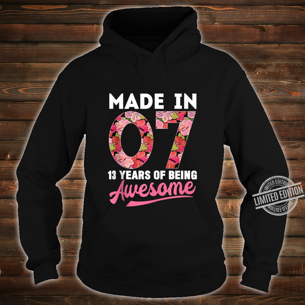 13 Year Old Birthday 13th Birthday Shirt Born In 2007 Shirt hoodie