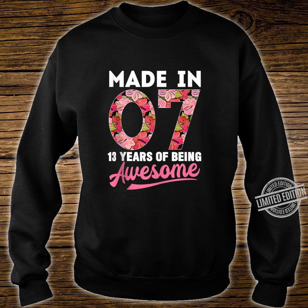 13 Year Old Birthday 13th Birthday Shirt Born In 2007 Shirt sweater