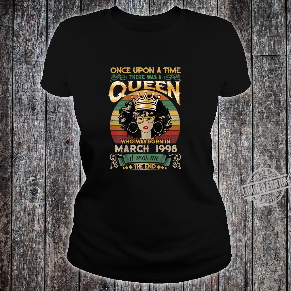22 Year Old Birthday Girls 22nd Birthday Queen March 1998 Shirt ladies tee