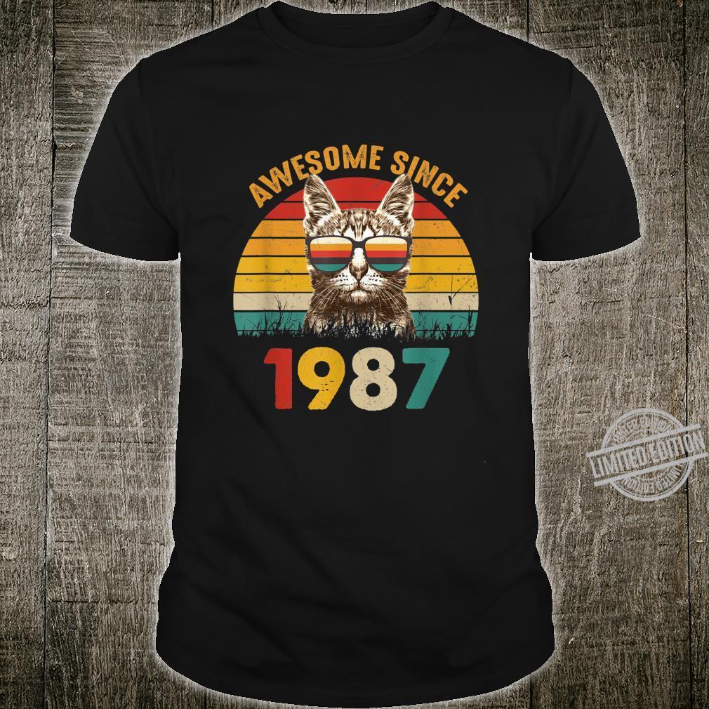 33 Geburtstagshirt Vintage Cat Katze Awesome Since 1987 Shirt
