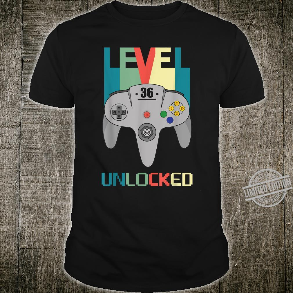 36th Birthday Years Old Level 36 Unlocked Shirt