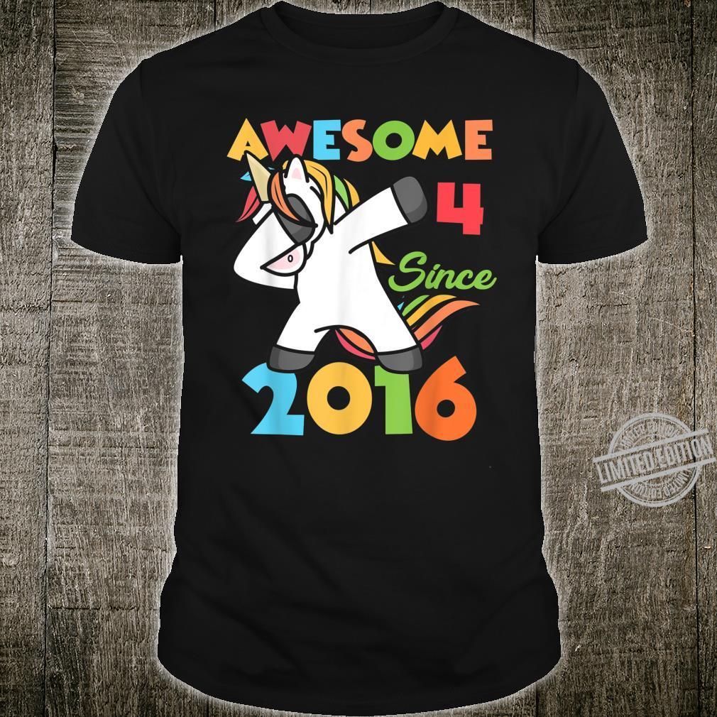 4 Years Old Birthday Dabbing Unicorn Girl 4th Birthday Shirt
