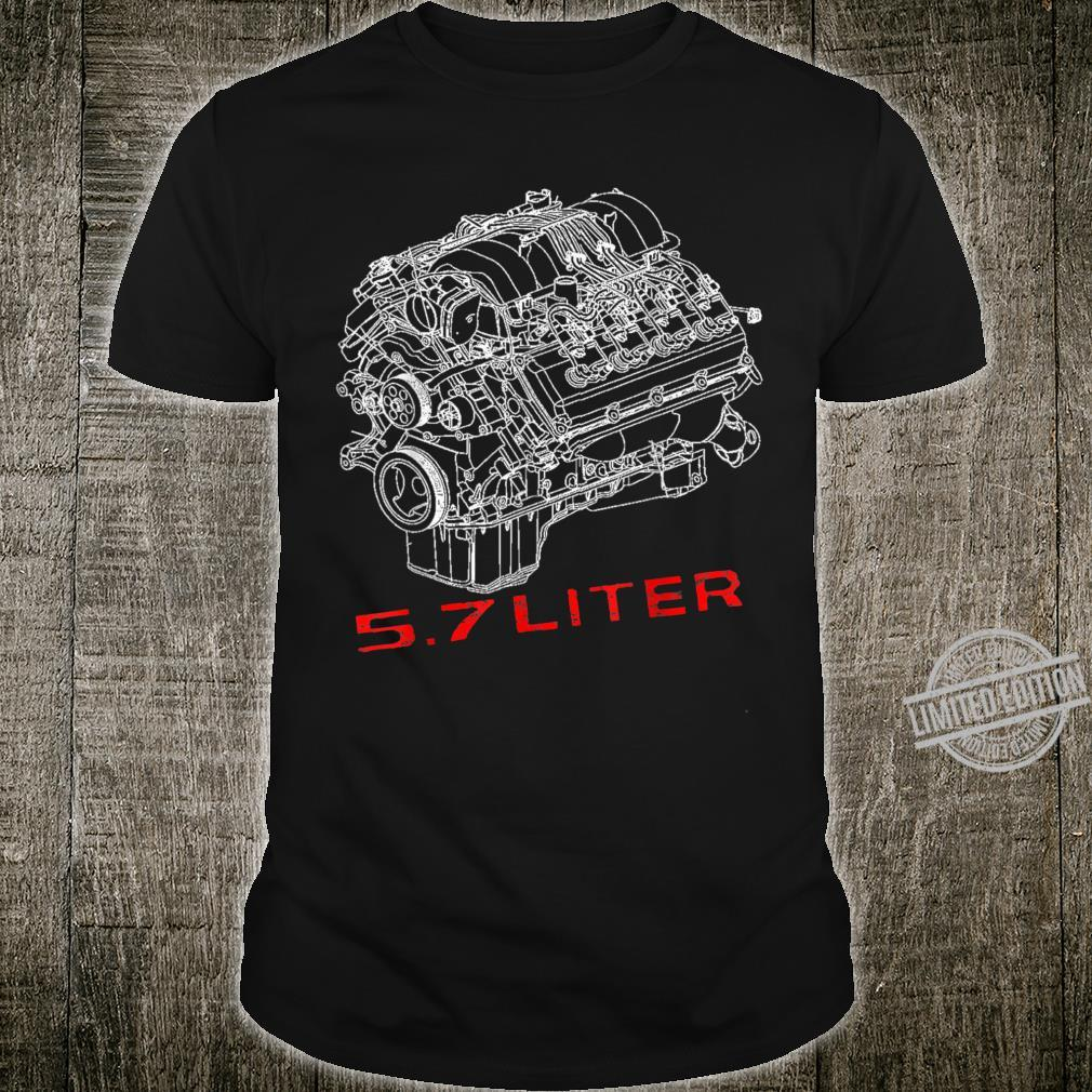 5.7 Liter Engine Assembly Diagram Race Car RT Style 345 Shirt