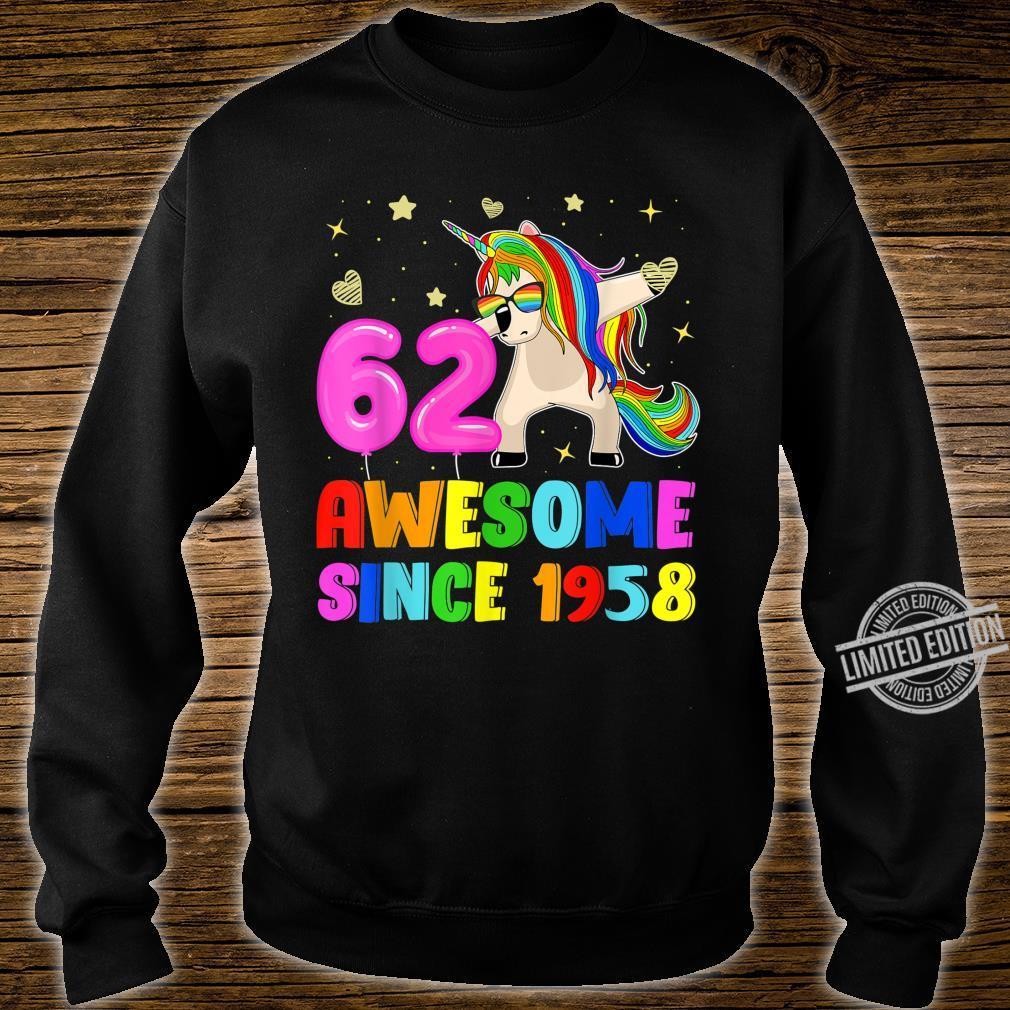 62nd Birthday Dabbing Unicorn 62 Yrs Old Awesome Since 1958 Shirt sweater