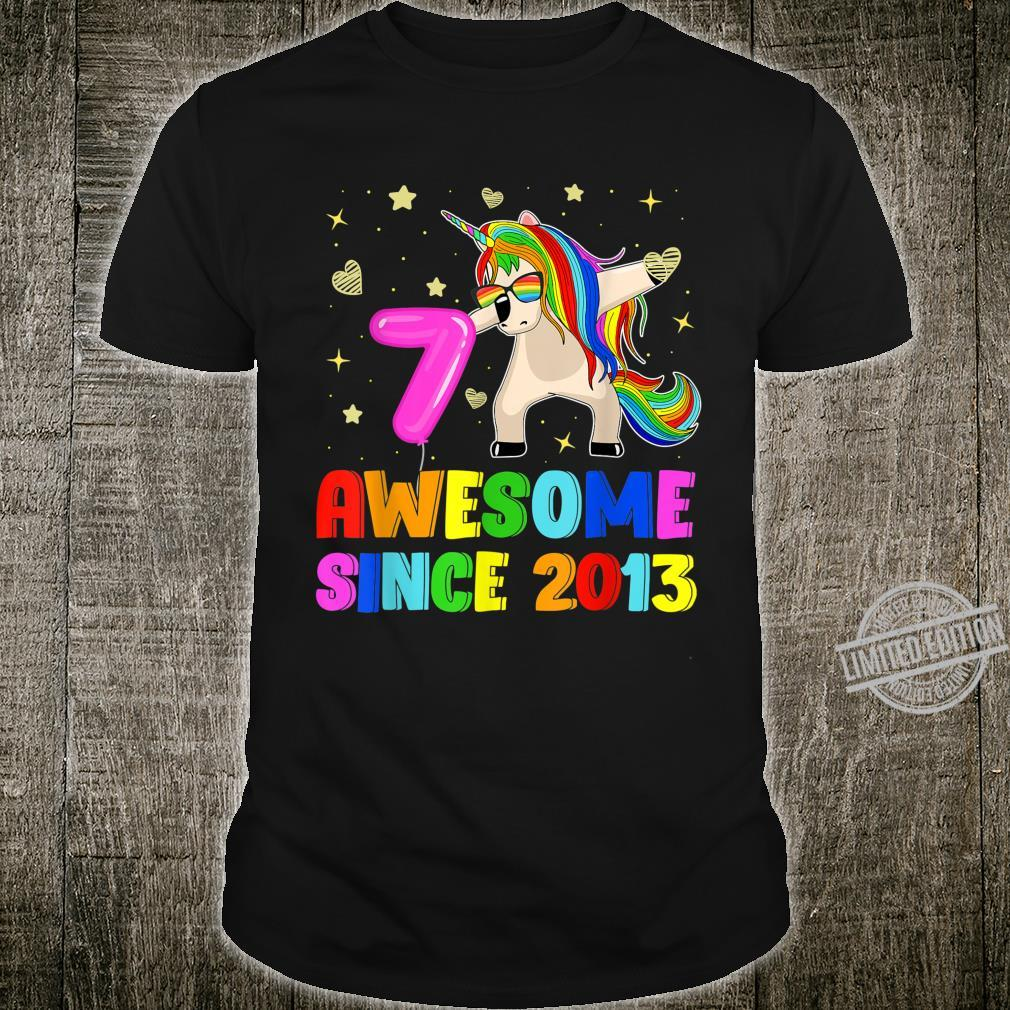 7th Birthday Dabbing Unicorn 7 Years Old Awesome Since 2013 Shirt