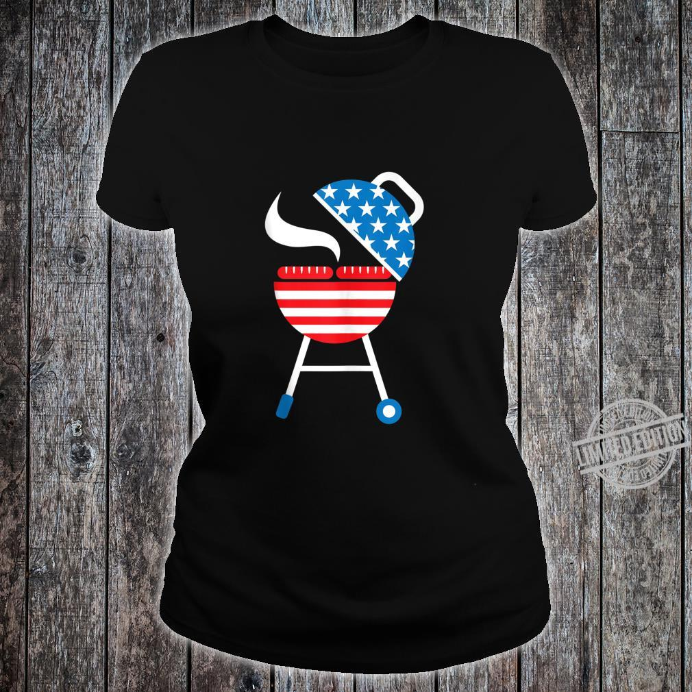 America Barbeque 4th Of July USA Flag Merica Dad Shirt ladies tee
