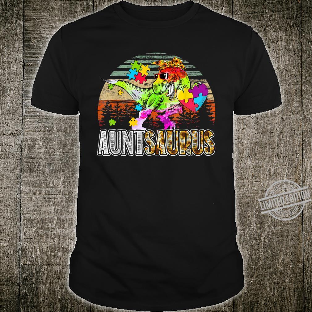 Aunt Saurus Auntsaurus Autism Awareness Dinosaur Shirt