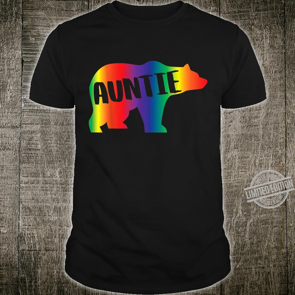 Auntie Bear Equality Pride Lesbian LGBT Rainbow Flag Shirt