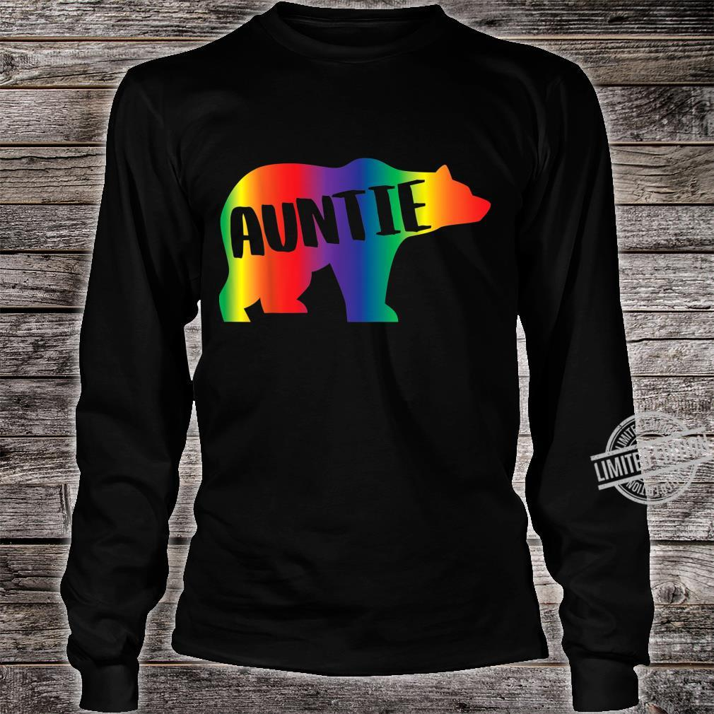 Auntie Bear Equality Pride Lesbian LGBT Rainbow Flag Shirt long sleeved