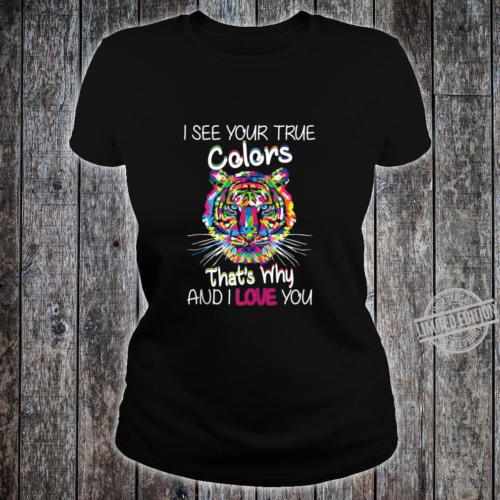 Autism Awareness It's OK to be different Colorful Tiger Shirt ladies tee