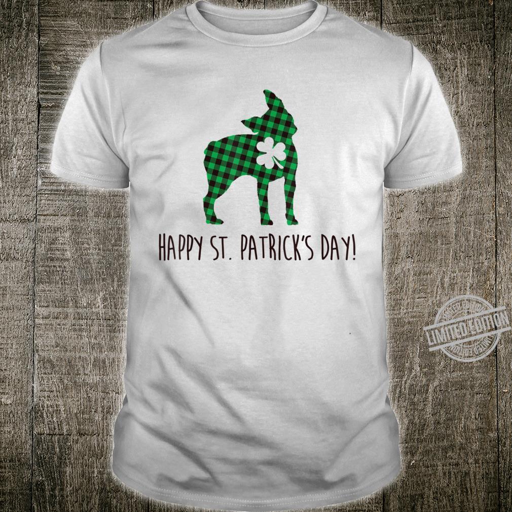 Boston Terrier Dog Happy Patrick Day Green Plaid Clovers Shirt