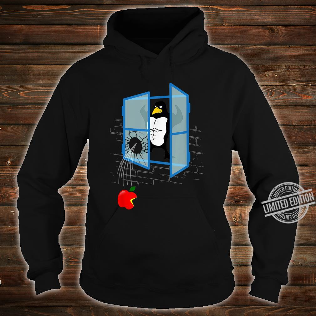 Brawny Linux Penguin Smashed Window with Bitten Apple Shirt hoodie