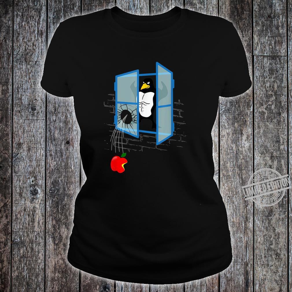 Brawny Linux Penguin Smashed Window with Bitten Apple Shirt ladies tee