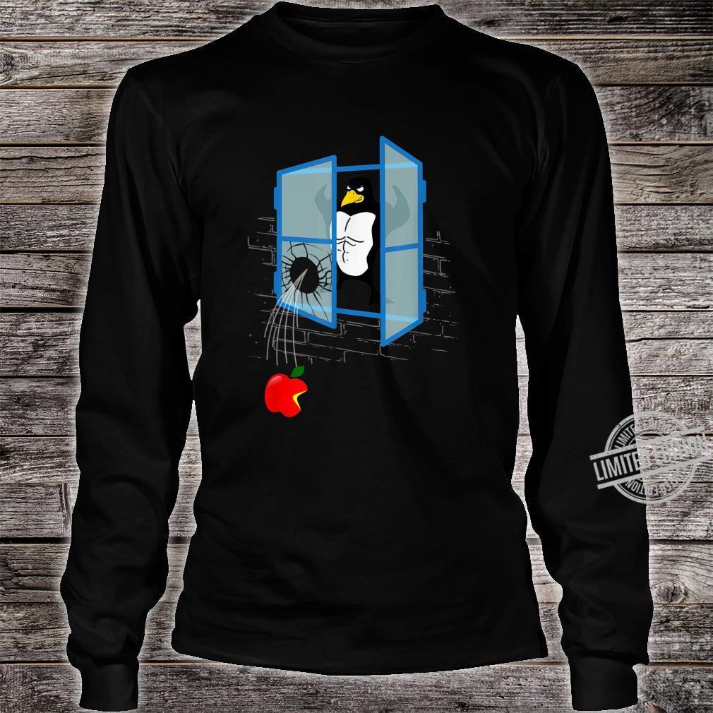 Brawny Linux Penguin Smashed Window with Bitten Apple Shirt long sleeved