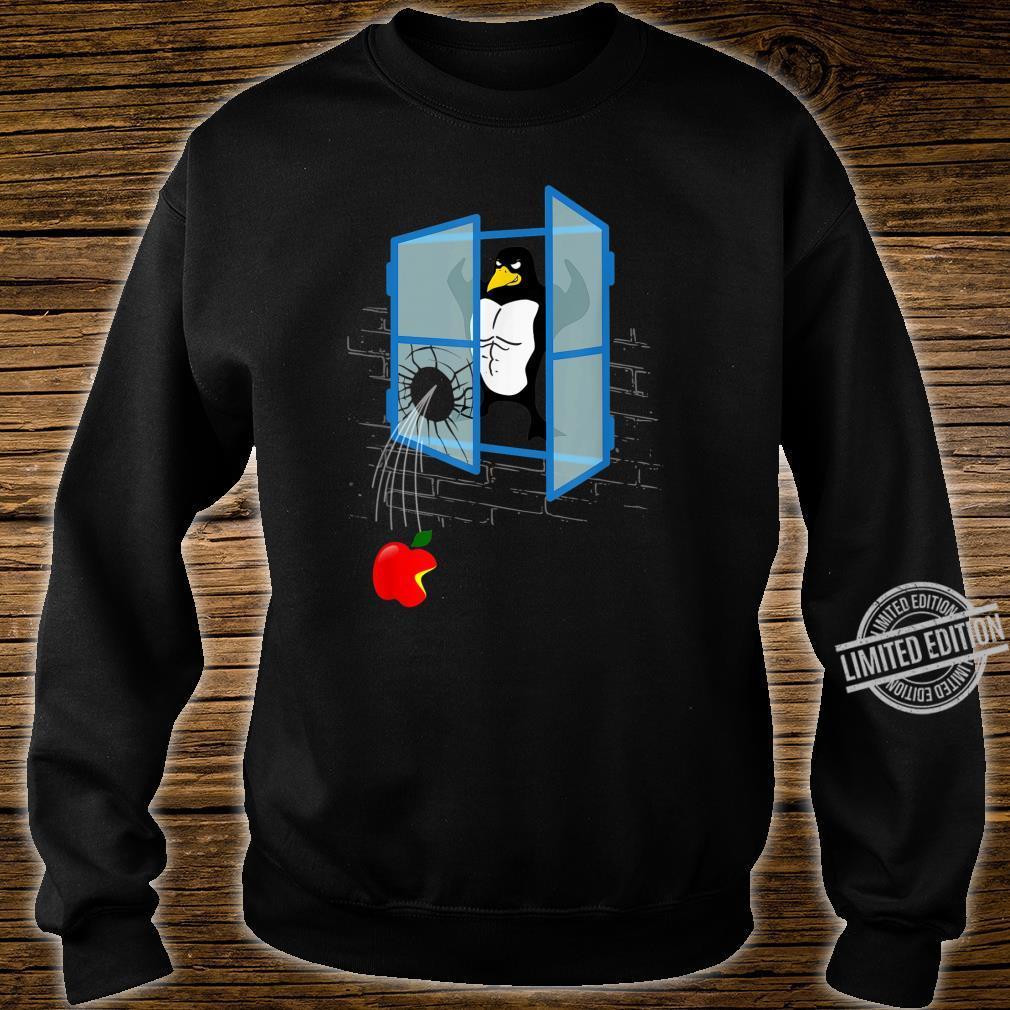 Brawny Linux Penguin Smashed Window with Bitten Apple Shirt sweater