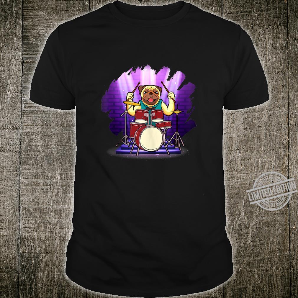 Bulldog Drummer Holding Up Drumsticks Behind His Drum Set Shirt
