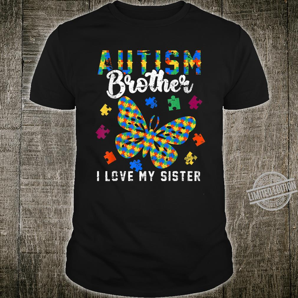 Butterfly Puzzle Autism Brother I Love My Sister Shirt
