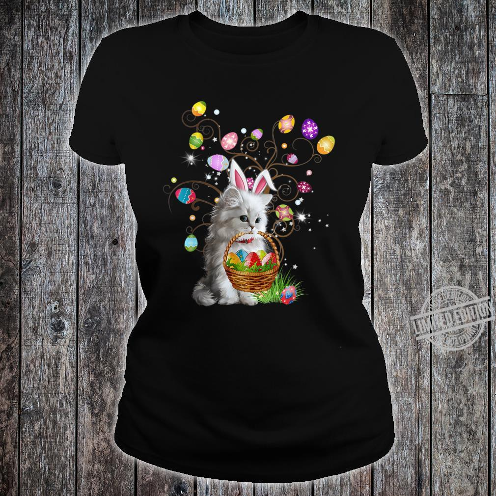 Cat Pet Hunting Egg Full Color Easter Day Shirt ladies tee