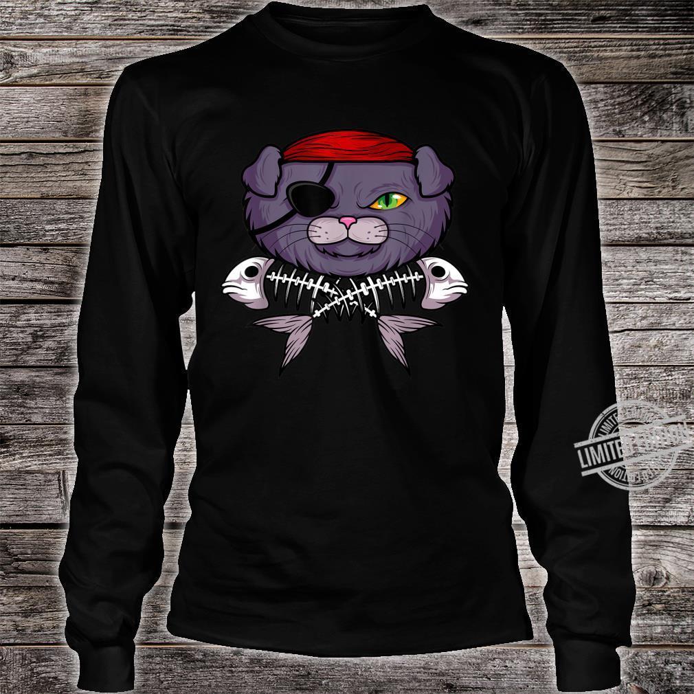 Cat Pirate Jolly Roger Flag Skull And Crossbones Captain Shirt long sleeved