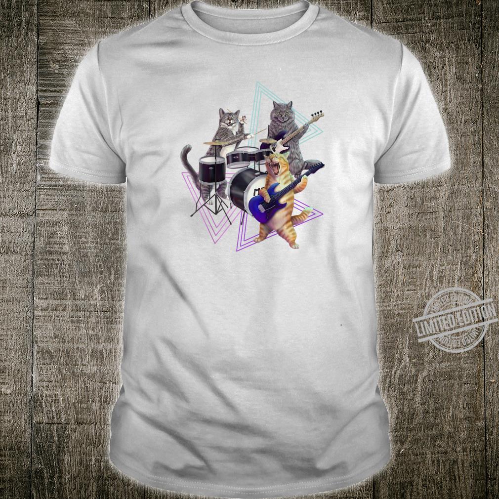 Cat band Rock kitties on bass, guitar, and drum set Shirt