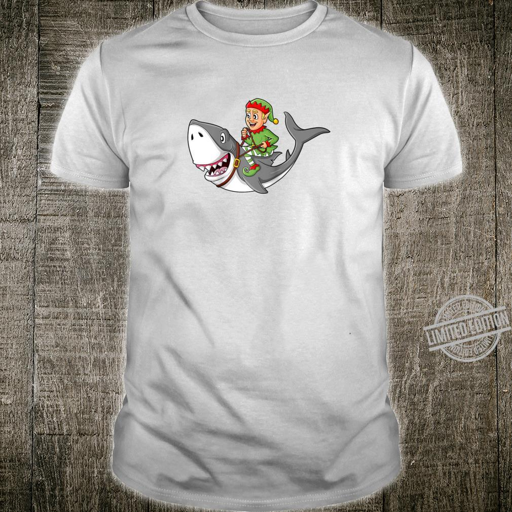 Christmas Elf Riding Shark Boys Girls Xmas Shirt