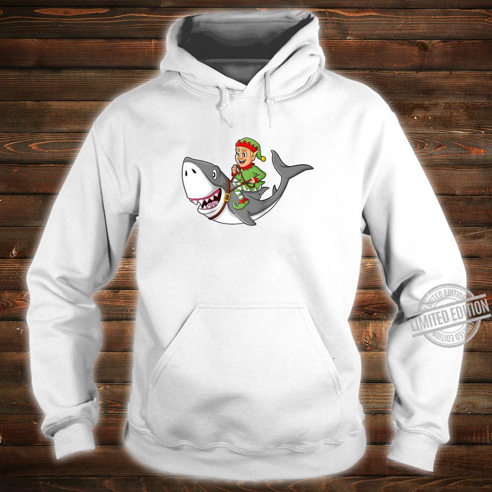 Christmas Elf Riding Shark Boys Girls Xmas Shirt hoodie