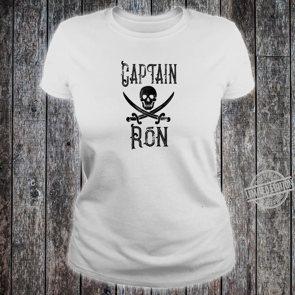 Cool Captain Ron Retro Personalized Pirate Boating Shirt ladies tee