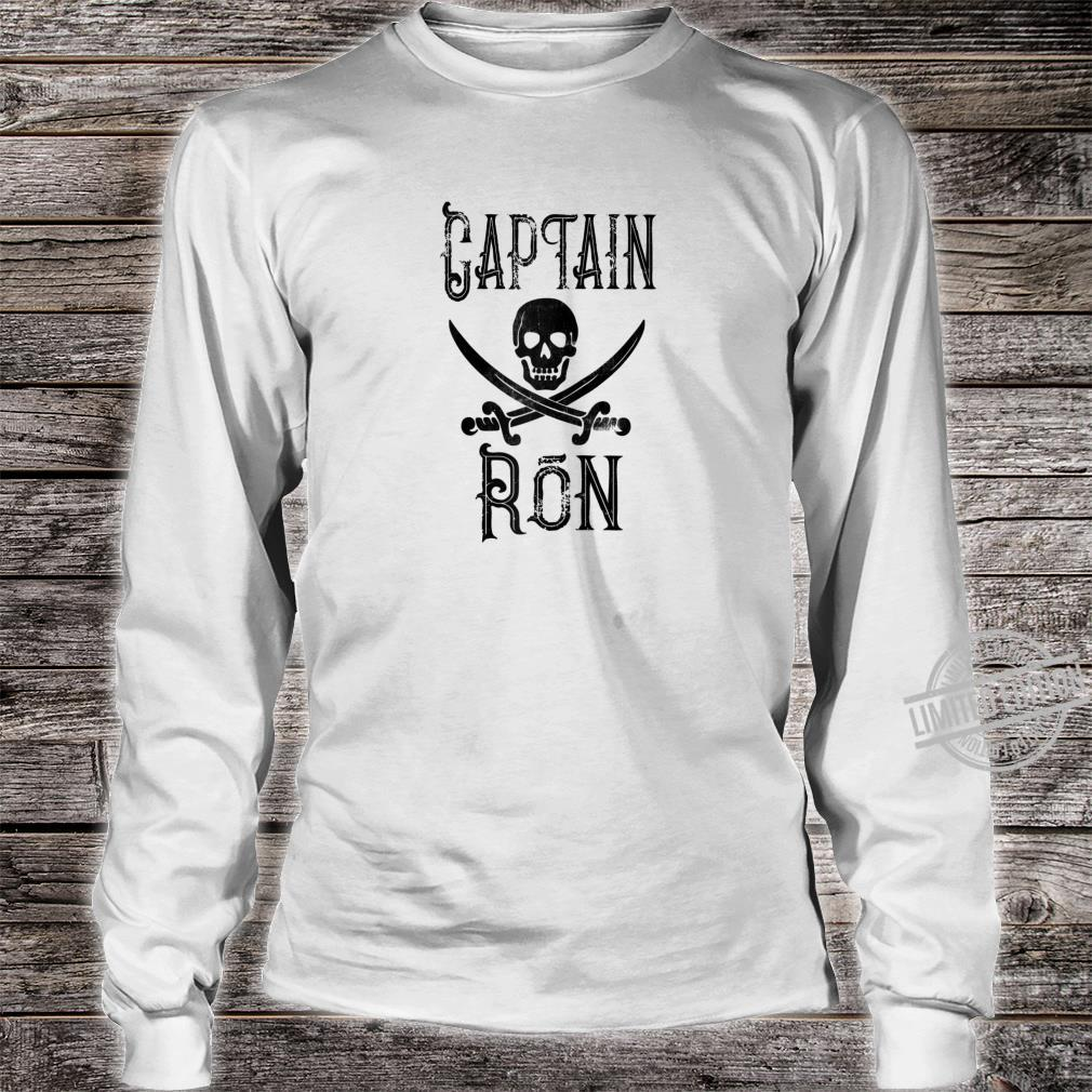 Cool Captain Ron Retro Personalized Pirate Boating Shirt long sleeved