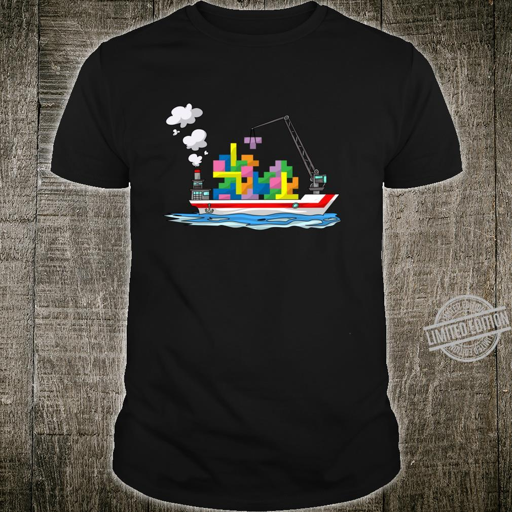 Cute Cargo Ship Blocks Toy Boat Brick Puzzle Shirt