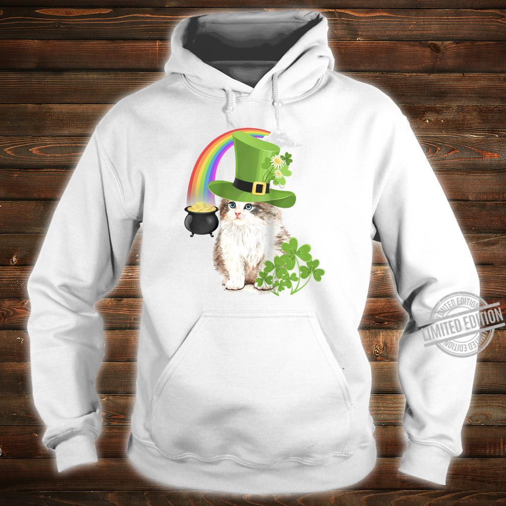 Cute Cat St Patricks Day Shamrock Rainbow Patty Kitten Shirt hoodie