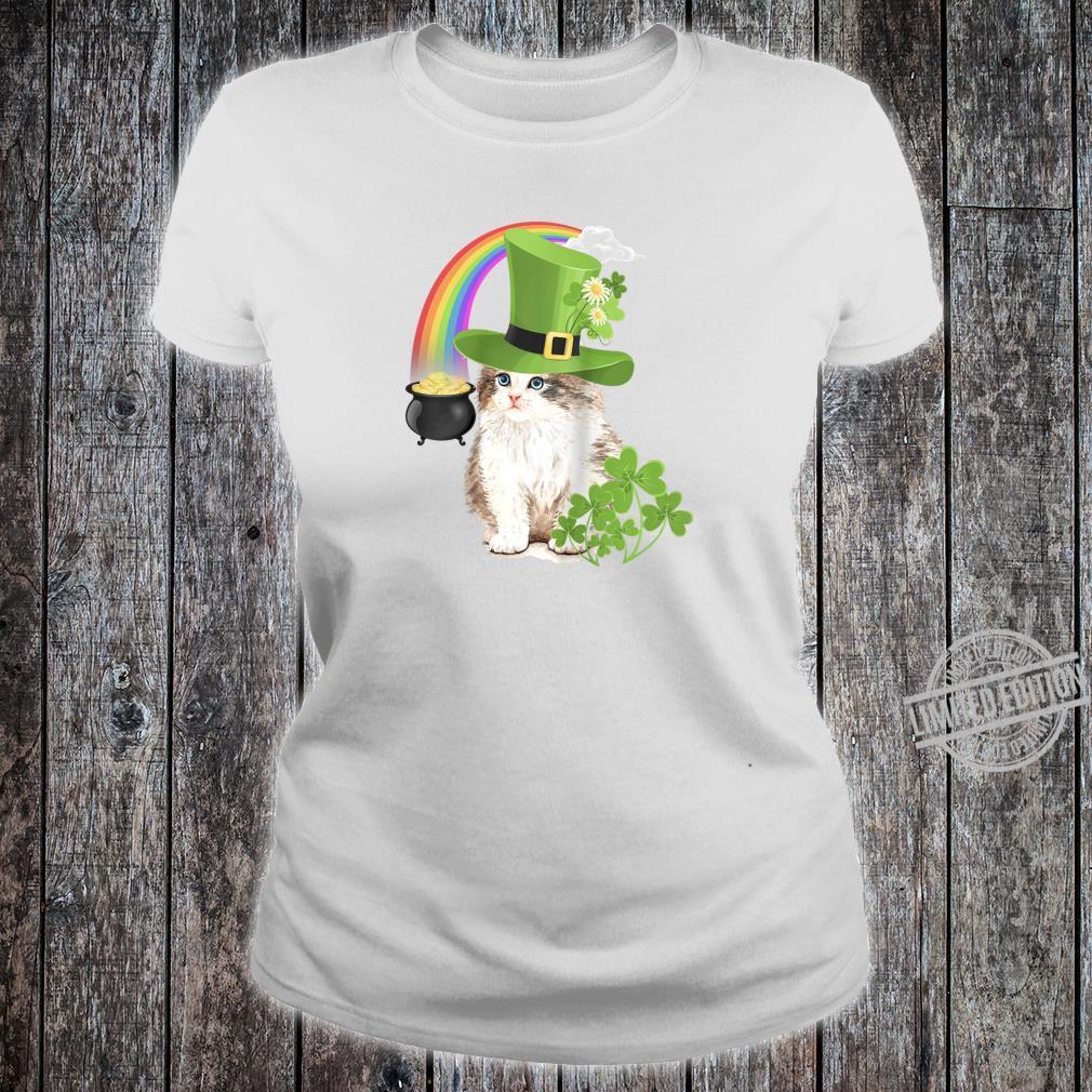 Cute Cat St Patricks Day Shamrock Rainbow Patty Kitten Shirt ladies tee