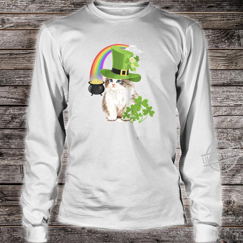 Cute Cat St Patricks Day Shamrock Rainbow Patty Kitten Shirt long sleeved
