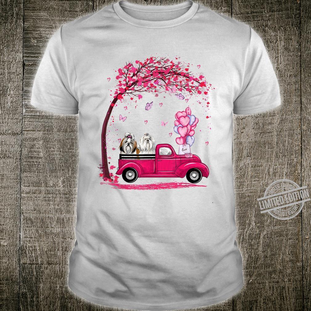Cute Couple Shih Tzu Pink Truck Valentines Day Shirt