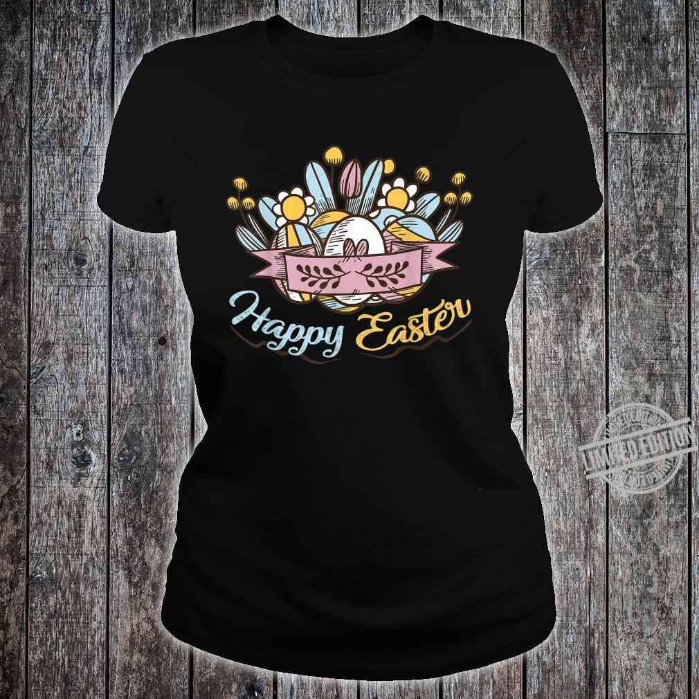 Cute Happy Easter Eggs Flowers Egg Hunting Shirt ladies tee