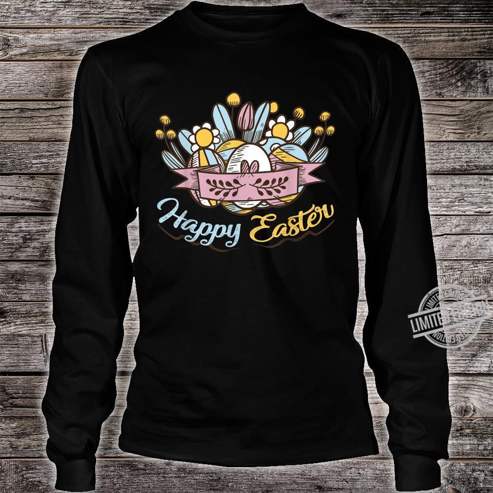 Cute Happy Easter Eggs Flowers Egg Hunting Shirt long sleeved