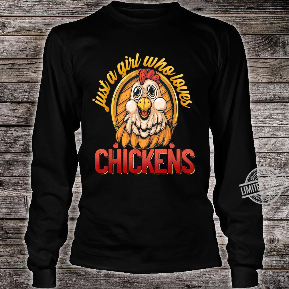Cute Just A Girl Who Loves Chickens Farmer Girls Shirt long sleeved