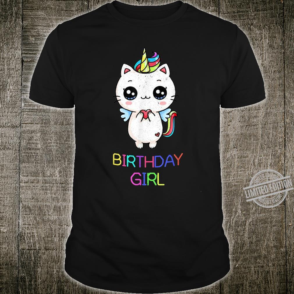 Cute Kawaii Birthday Unicorn Cat Colorful Girl Shirt