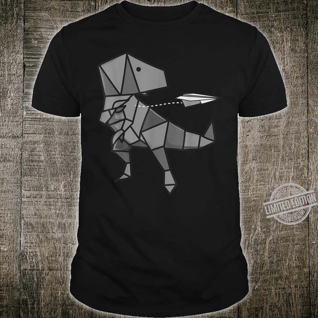 Cute Origami TRex Throwing Paper Plane Dinosaur Shirt