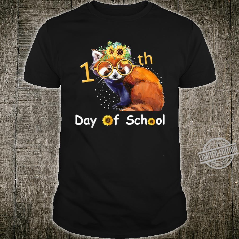 Cute Red Panda With Sunflower Happy 100th Day Of School Shirt