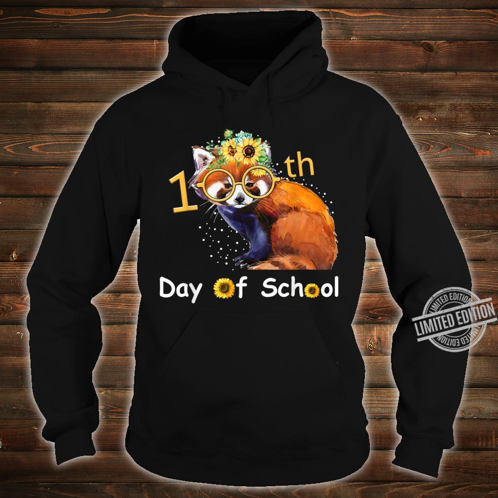 Cute Red Panda With Sunflower Happy 100th Day Of School Shirt hoodie