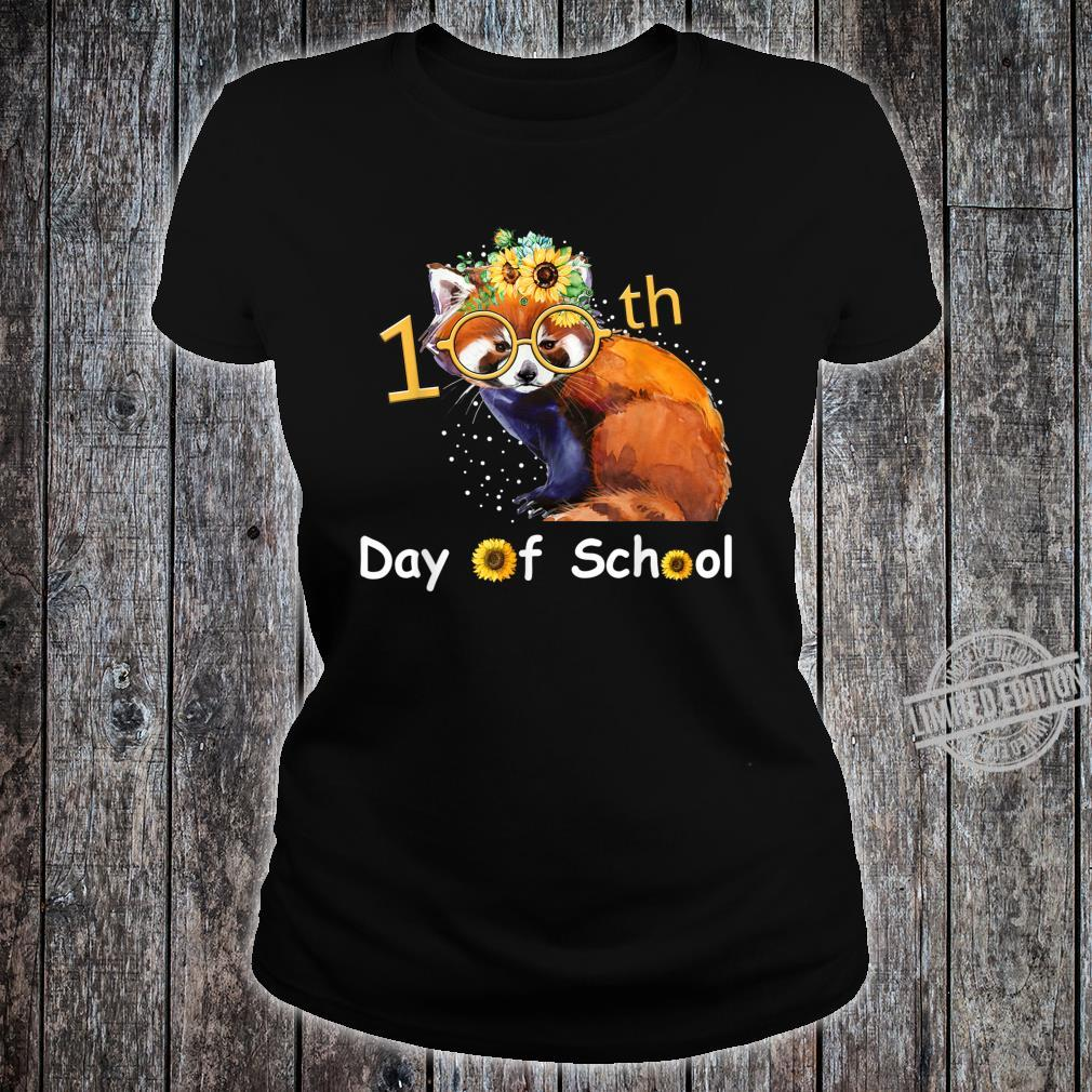 Cute Red Panda With Sunflower Happy 100th Day Of School Shirt ladies tee