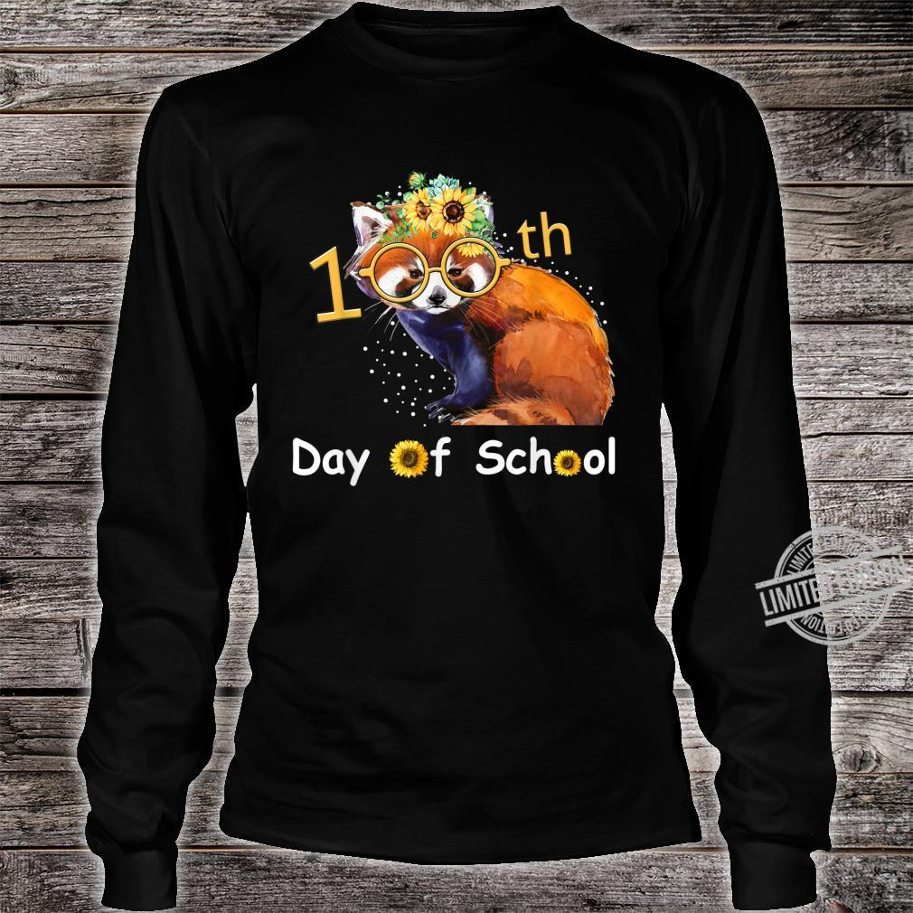 Cute Red Panda With Sunflower Happy 100th Day Of School Shirt long sleeved