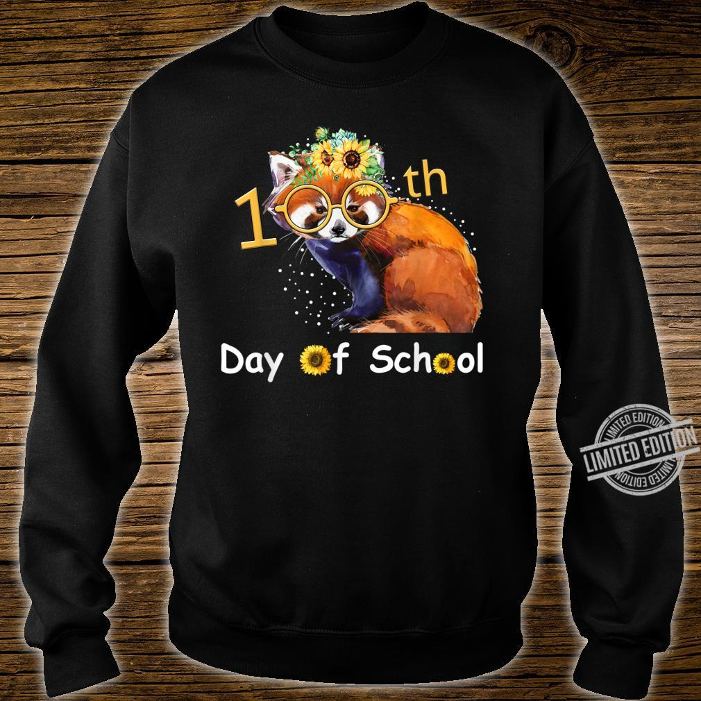 Cute Red Panda With Sunflower Happy 100th Day Of School Shirt sweater