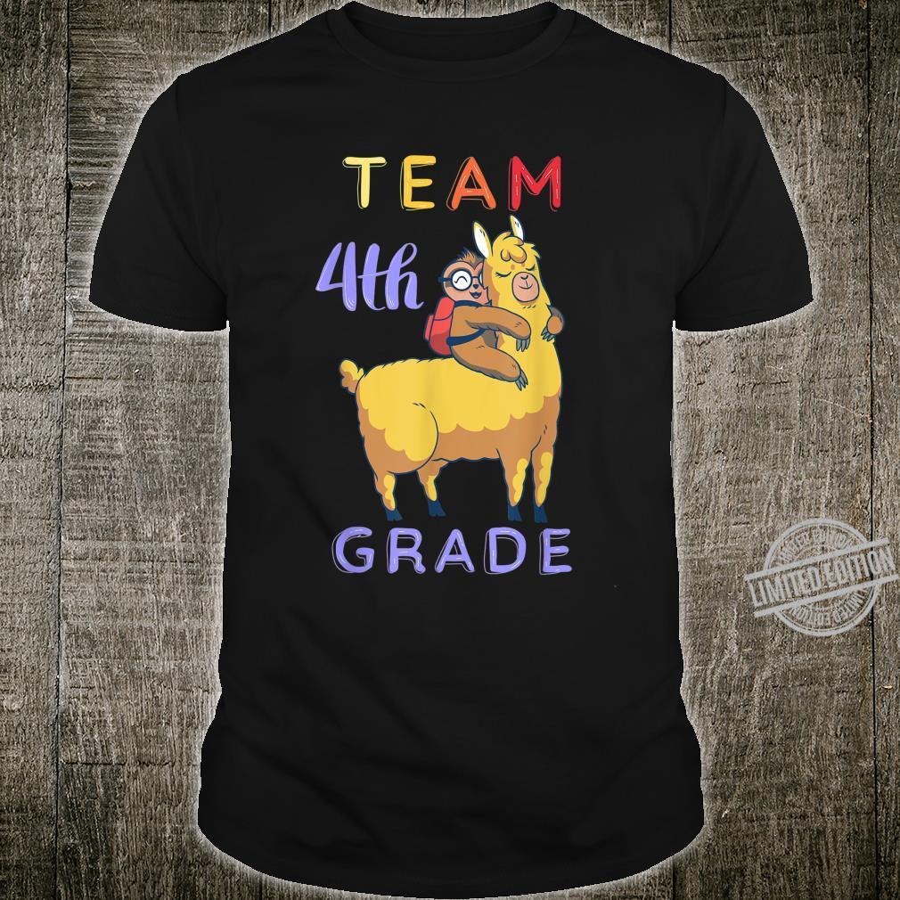 Cute Sloth And Llama Team 4th Grade Student And Teacher Shirt