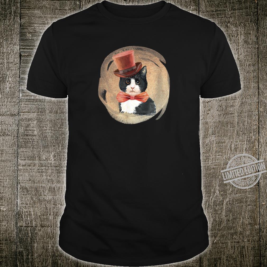 Cute Tuxedo Cat Vintage Style Artwork for Kittens Shirt
