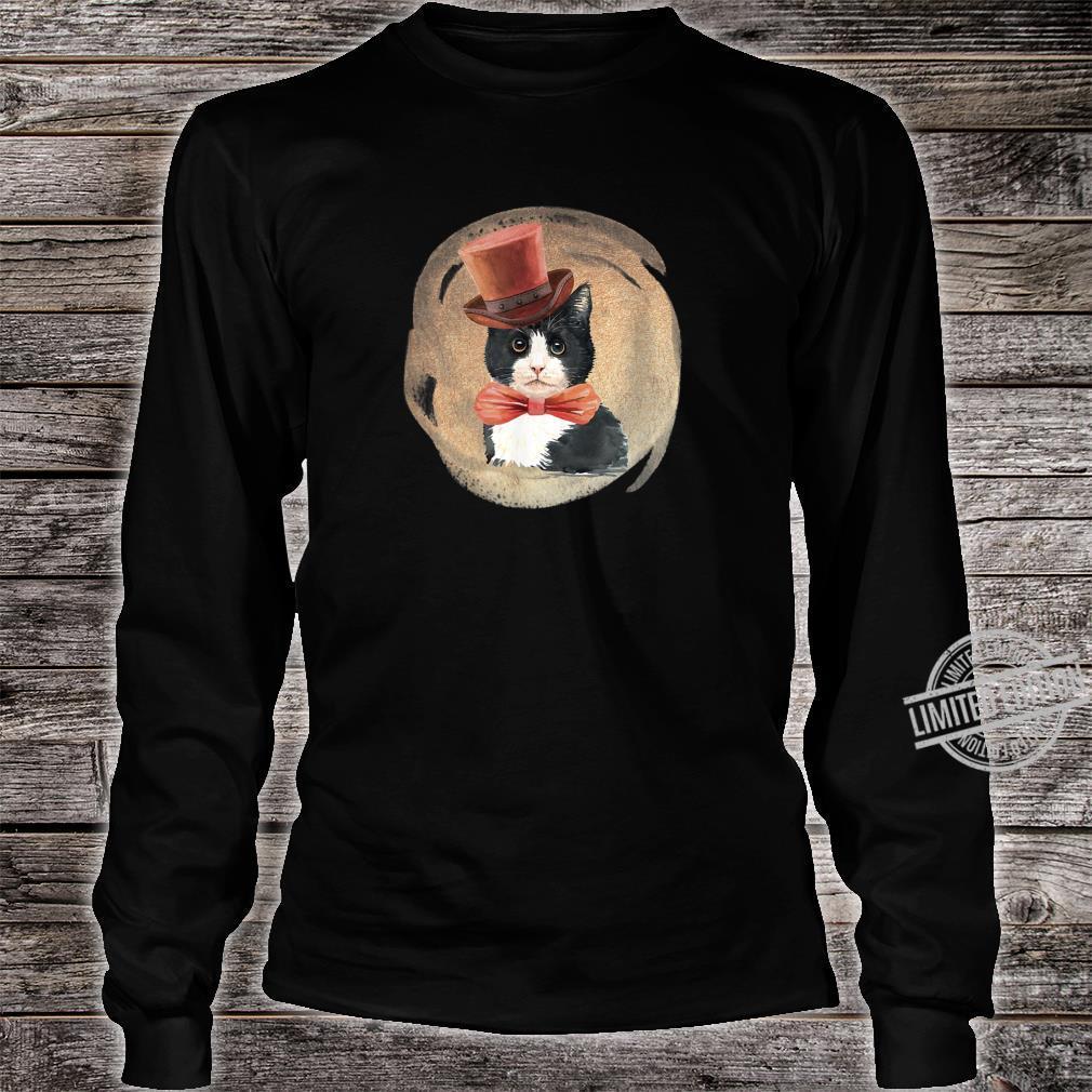 Cute Tuxedo Cat Vintage Style Artwork for Kittens Shirt long sleeved