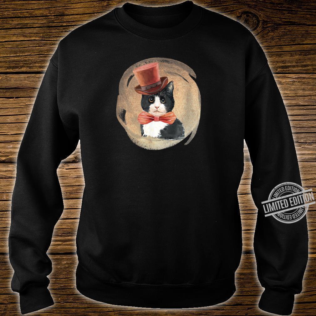 Cute Tuxedo Cat Vintage Style Artwork for Kittens Shirt sweater