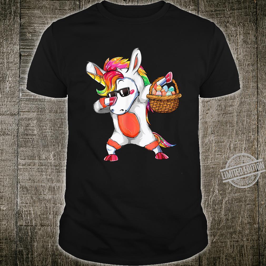 Cute Unicorn Dabbing Rabbit Eggs Easter Day Girls Shirt