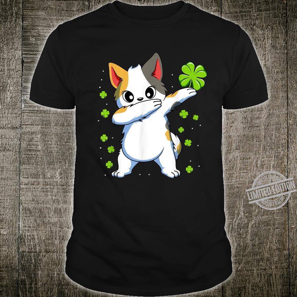 Dabbing Cat St Patricks Day Boys Girls Dab Shirt