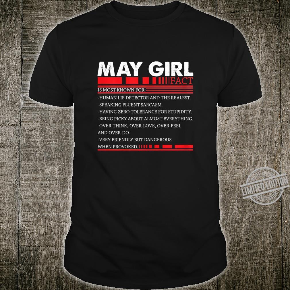 Damen May Girl Fact Speaking Fluent Sarcasm Birth Day Shirt